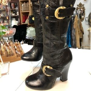 Vintage style Black Leather Boots size 9